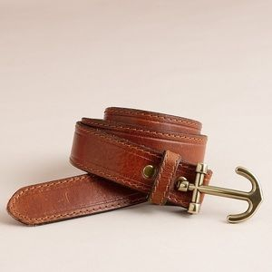 J. Crew 💕Anchor Brass Leather Brown Classic Belt